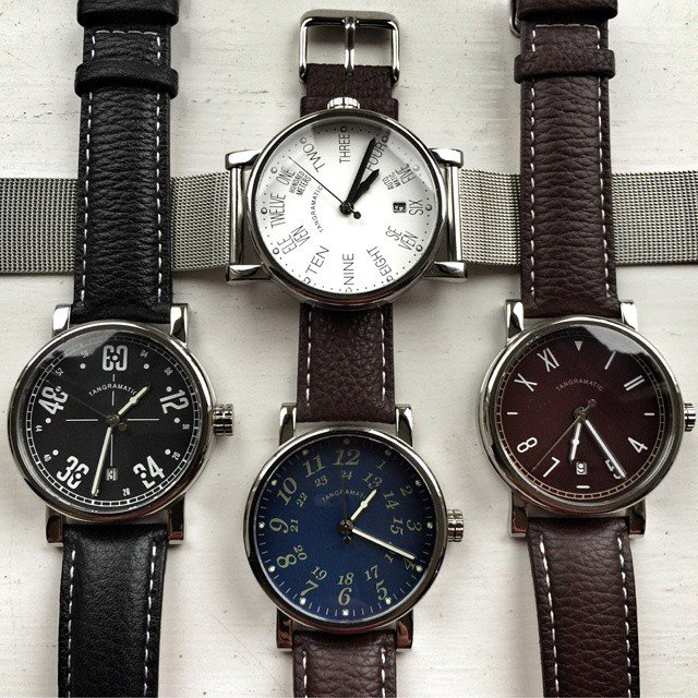 Tangramatic 39a watch with 4 dial variants