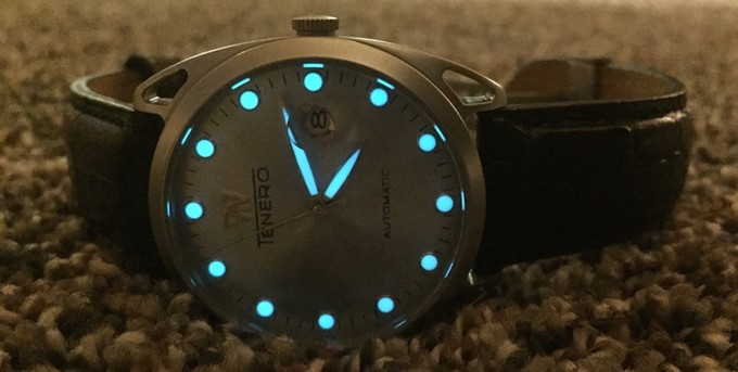 Tenero Automatic Kickstarter watch lume