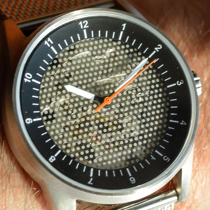 The View by Caliper Timepieces Kickstarter Watch visible movement dot dial