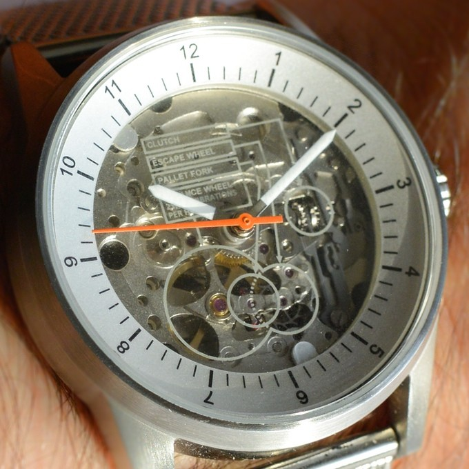 The View by Caliper Timepieces Kickstarter Watch visible labelled movement